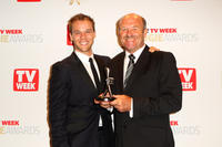 Lincoln Lewis and Wally Lewis at the 2012 Logie Awards in Australia.