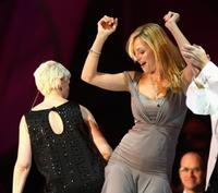 Uma Thurman and Annie Lennox at the Nobel Peace Prize Concert in Oslo.