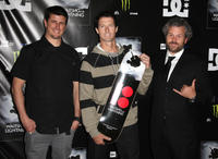 Ken Block, skateboarder Danny Way and Jacob Rosenberg at the California premiere of