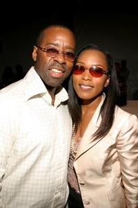Courtney B. Vance and his wife Angela Bassett at the Pamella Roland show during Olympus Fashion Week Spring 2005.