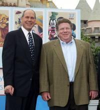 Michael Eisner and George Wendt at the ceremony honoring Mickey Mouse and friends on new stamps, postal cards and stationery.