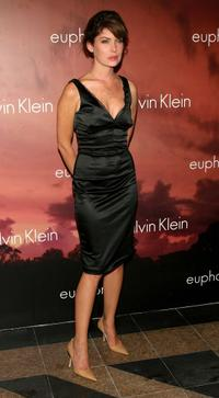 Lara Flynn Boyle at the Olympus Fashion Week, attends the Calvin Klein after party.