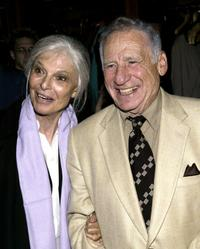 Anne Bancroft and her husband Mel Brooks at the opening night party for