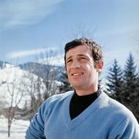 Jean-Paul Belmondo during his winter sports holiday in France.