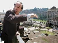 Roberto Benigni at the Roman Forum.