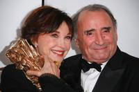 Claude Brasseur and Marlene Jobert at the 32nd Cesars film awards ceremony, during a photo call.