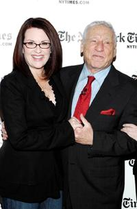 Mel Brooks and Megan Mullally at the Times Center for the New York Times Arts & Leisure Week.
