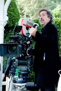 Tim Burton on the set of