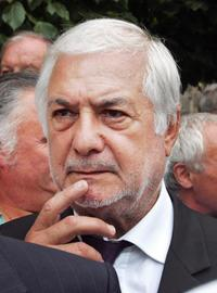 Jean-Claude Brialy at the Saint-Remy-les-Chevreuse for the funeral mass for French actor Raymond Devos.
