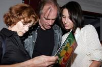 Keith Carradine, Shelley Plimpton and Hayley Du Mond look at the reunion party for the original cast members of the Broadway musiclal