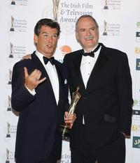 John Cleese and Pierce Brosnan at the Burlington Hotel for the Irish Film and Televison Awards.