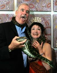John Cleese and Caroline OConnor at the visit to Sydneys Taronga Zoo.