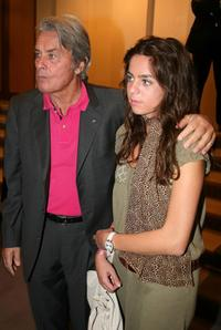 Alain Delon and his daughter Anouchka Delon at the pre-launch cocktail party for his upcoming auction of paintings.