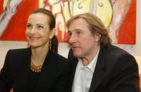 Gerard Depardieu and Carole Bouquet at the World Economic Forum Davos.