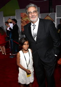 Placido Domingo and his granddaughter at the world premiere of