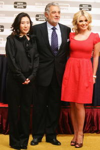 Lee Ji-Young, Placido Domingo and Katherine Jenkins at the press conference prior to their concert in Seoul, South Korea.
