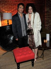 Atom Egoyan and Arsinee Khanjian at the Colin Firth's 50th birthday party.
