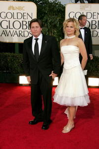 Emilio Estevez and Sonja Magdevski at the 64th Annual Golden Globe Awards.