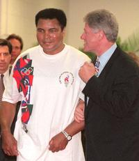 Muhammad Ali and Bill Clinton at the centennial Olympic Games.