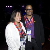 Jessica Hancock and Herbie Hancock at the GRAMMYs Rock The Convention during the Democratic National Convention.