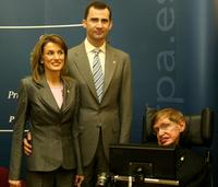 Princess Letizia, Prince Felipe and Stephen Hawking at the Arturias Awards Press Conference.