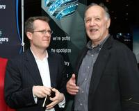 Werner Herzog and Thom Powers at the Werner Herzog Discovery Films reception during the Toronto International Film Festival.