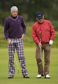 Dennis Hopper and Ian Poulter at the first round of The Alfred Dunhill Links Championship at Kingsbarns Golf Links.