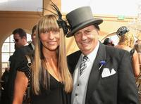 Collette Dinnigan and Barry Humphries at the AAMI Victoria Derby Day, during the Melbourne Cup Carnival.