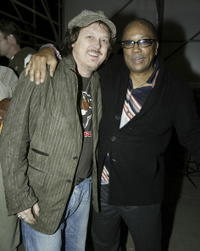 Quincy Jones and Italian musician Zucchero backstage during rehearsals for the