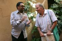 Spike Lee and Massimo Sarchielli at Rome for the promotion of his new movie Miracle at St. Anna .