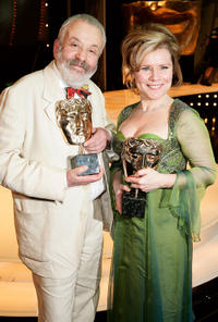 Mike Leigh and Imelda Staunton at the Orange British Academy Film Awards 2005.