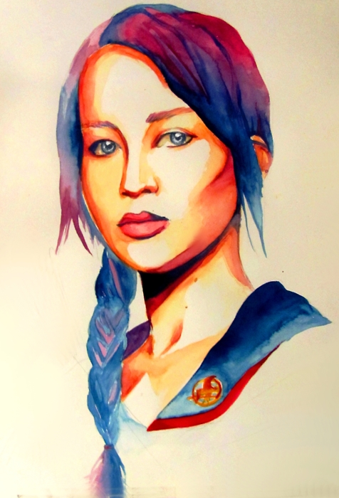 Katniss Watercolor on A Bright World