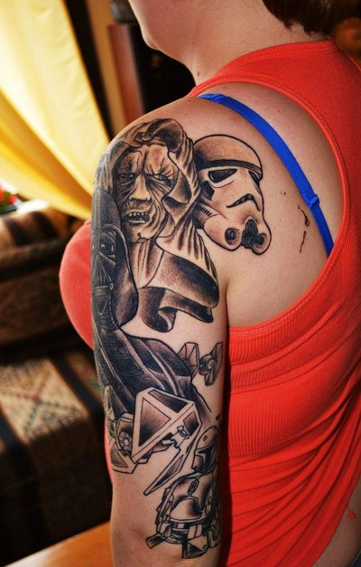 Nerd watch hardcore 39 star wars 39 villain fan tattoo rocks for Hardcore tattoo porn