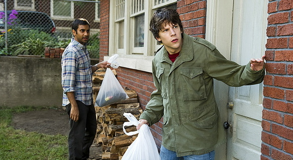 30Minutes3 Dialogue: Jesse Eisenberg and Aziz Ansari talk 30 Minutes or Less, Lethal Weapon and ... Tango & Cash?