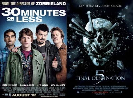 30minfd5posters Weekend Chatter: What Did You Think of Final Destination 5, 30 Minutes or Less, Glee Live 3D and More?