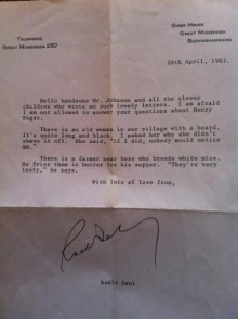 pic of a letter from author Roald Dahl