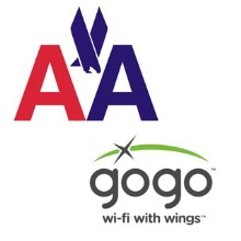 American Airlines and Gogo logos