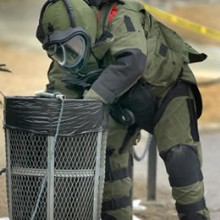 Bomb Squad Officer in full gear