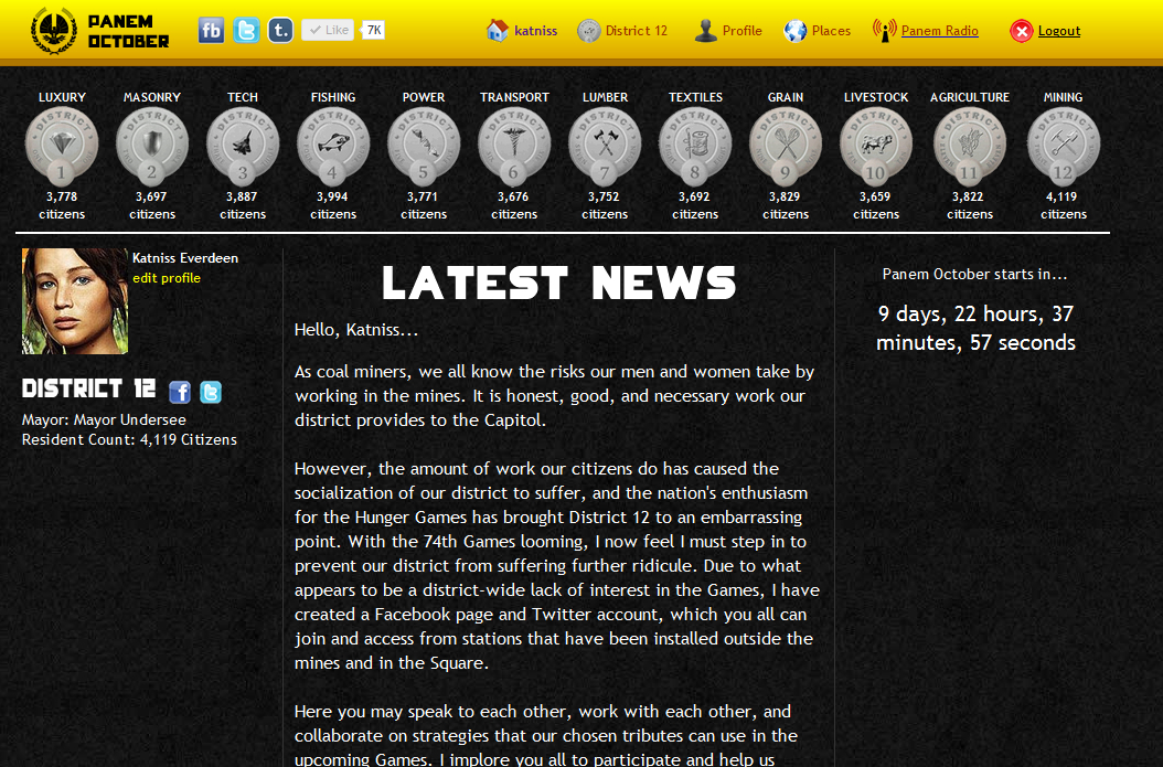Panem October Site