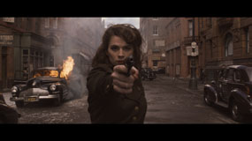 captain america hayley atwell gun 285px Captain America: The First Avenger Blu ray Review: Above Average Disc for an Above Average Superhero Movie