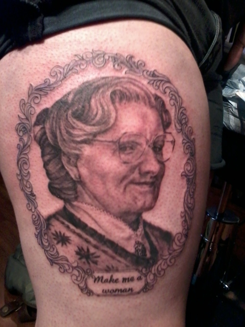 doubtfiretat Image of the Day: Giant Mrs. Doubtfire Tattoo