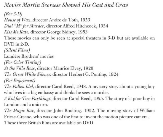 scorsese3d Guess Which 3D Movies Martin Scorsese Made His Hugo Cast and Crew Watch