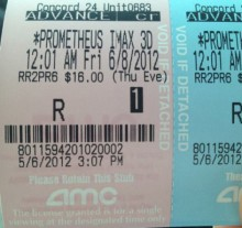 Prometheus ticket stub