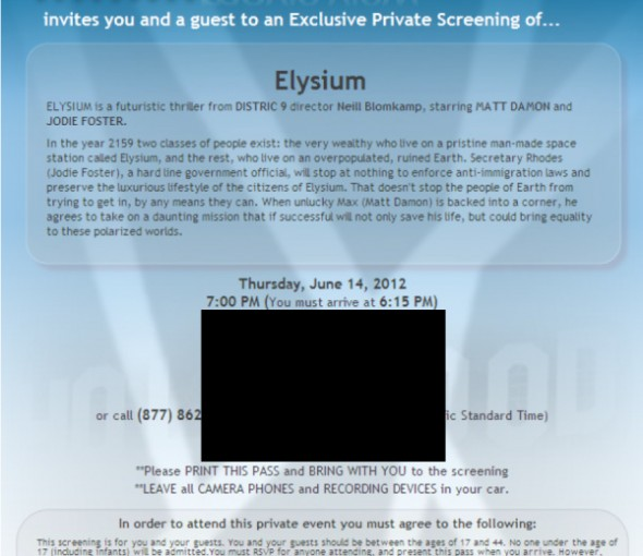 Elysium screening invite