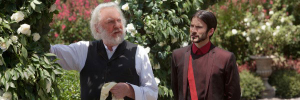 Donald Sutherland as President Snow in the Rose Garden
