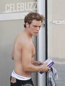 Sam Claflin on the Set of Catching Fire