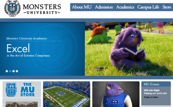 Monsters University website front page