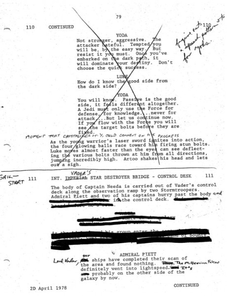 Empire strikes back script page with notes
