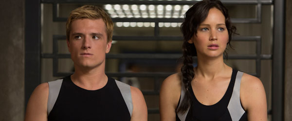 Josh Hutcherson and Jennifer Lawrence in Catching Fire