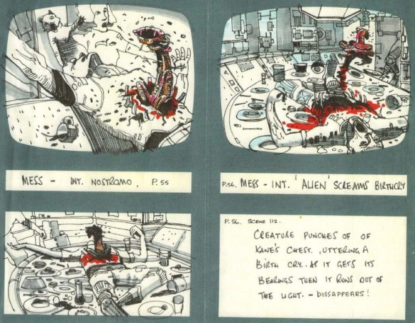Alien chestburster storyboards